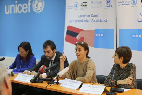 "UNICEF representative Tanya Chapuisat in the ""common cards""  launching by aid agencies"