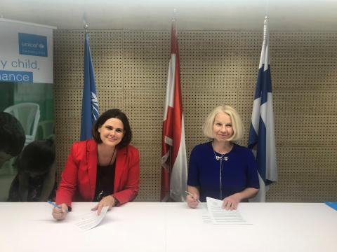 Violet Speek Warnery, UNICEF Deputy Representative to Lebanon with Tarja Fernández, Finland's Ambassador to Lebanon