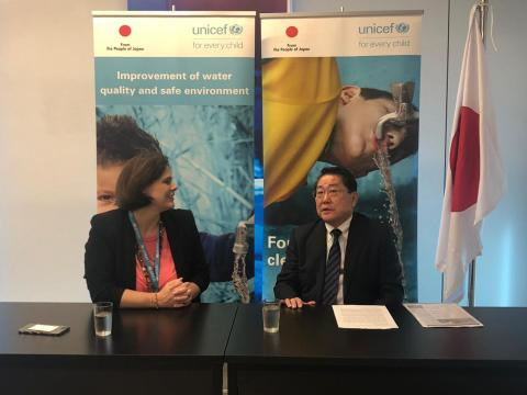 the Ambassador of Japan to Lebanon Mr. Matahiro Yamaguchi and UNICEF Deputy Representative to Lebanon Mrs. Violet Speek Warnery during a press conference at UNICEF Lebanon office. The Japanese Ambassador renews commitment to the Lebanese WASH sector with an additional USD2,6 million funding to support children and their families affected by the Syrian crisis.