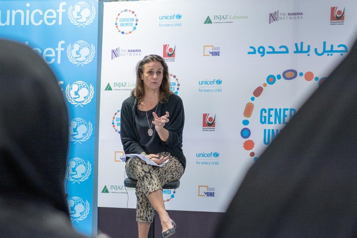At the Youth Challenge event UNICEF Lebanon Representative Tanya Chapuisat empowers youth to live out their potential and thrive in the challenges of today!