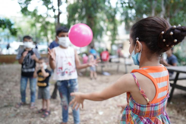 Children playing in the public garden during the psychosocial support program by UNICEF