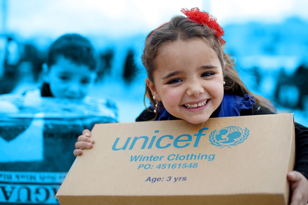 Young Syrian refugees are bracing for the winter in camps in the town of Ersal, East Lebanon, near the Syrian border. They receive urgent winter supplies from UNICEF including winter clothing kits to help keep them warm throughout the winter.