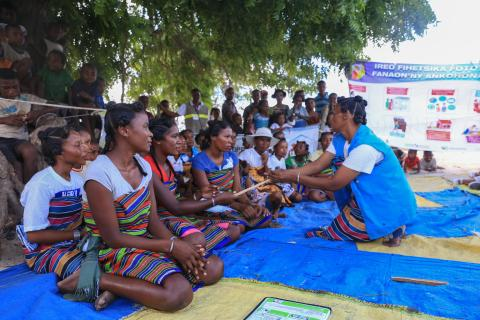 Some women in Tanandava perform during the wellness session to promote some messages about the familial essential practices (Cash transfer program)