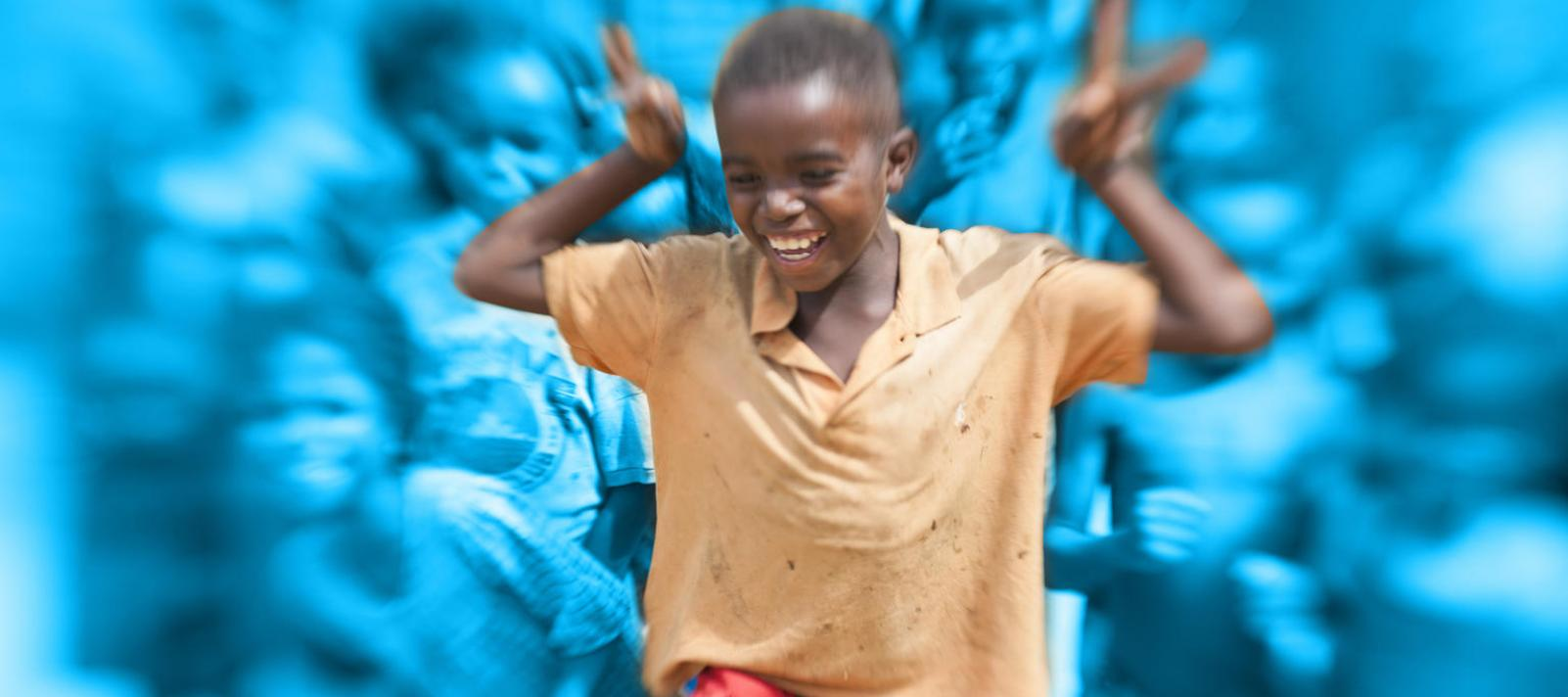 Bluewashed photo of a boy dancing