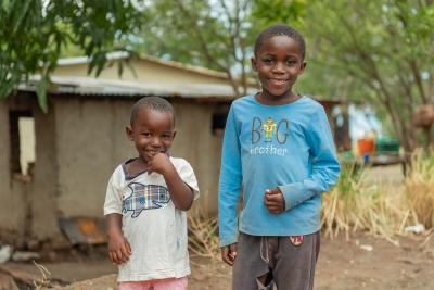 Two siblings at their home in Nkhatabay