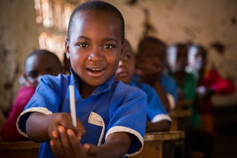 A boy in a classroom at Chambwe Primary School in Lilongwe
