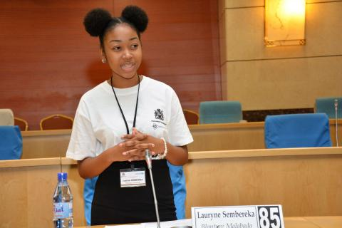 Youth Parliamenterian Lauryn, participating in a youth parliament session in Lilongwe