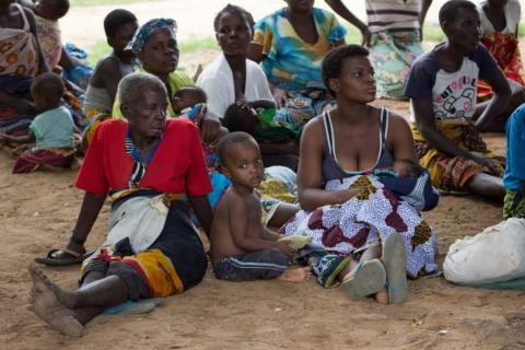 Mothers and their children gathered at Chadzuka Camp in Nsanje.