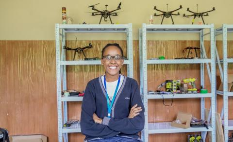 Keziah Ntwiga, a student from the first cohort of the African Drone and Data Academy