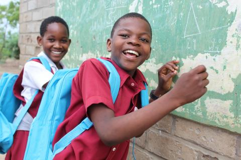 UNICEF beneficiaries Mayamiko Mphepo and Nelah Phiri from Sekani Primary School in Chikwawa