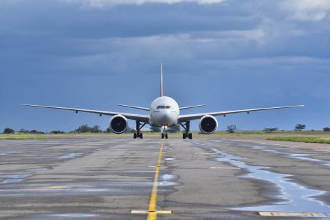A plane carrying Malawi's first batch of 360,000 COVID-19 Vaccines lands at Kamuzu International Airport in Lilongwe.