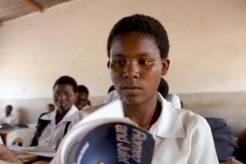 UNICEF Scholarship recipient Rita Ngwira in class at Namwera Secondary School