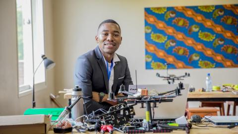 Thumbiko working on a drone at the African Data and Drone Academy