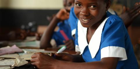 A girl in class at Chambwe Primary School in Lilongwe, Malawi