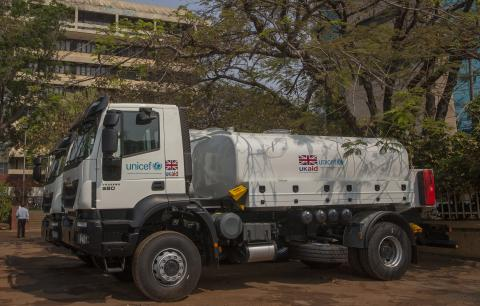 One of the trucks donated to the Malawi Government with support from UNICEF and DFID