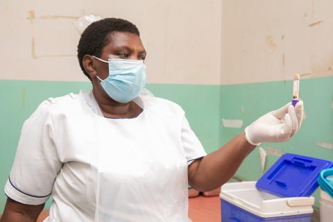 Eunice Marorongwe on duty recording blood samples