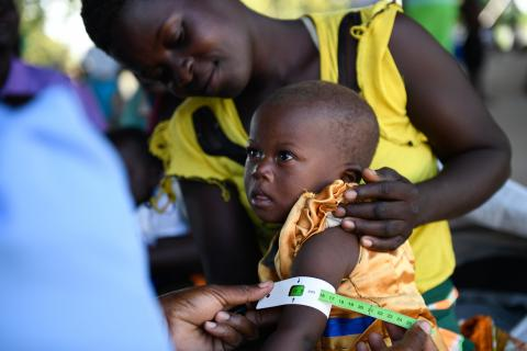 A child being screened for malnutrition at Bangula Admarc Camp in Nsanje.