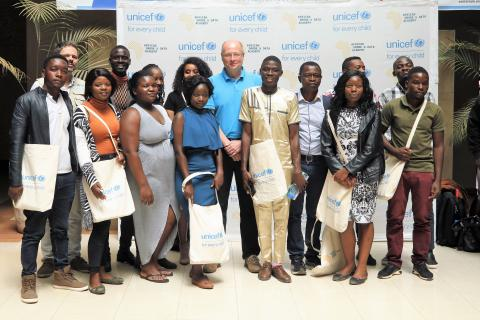 ADDA students with the UNICEF Country Rep, Rudolf Schwenk