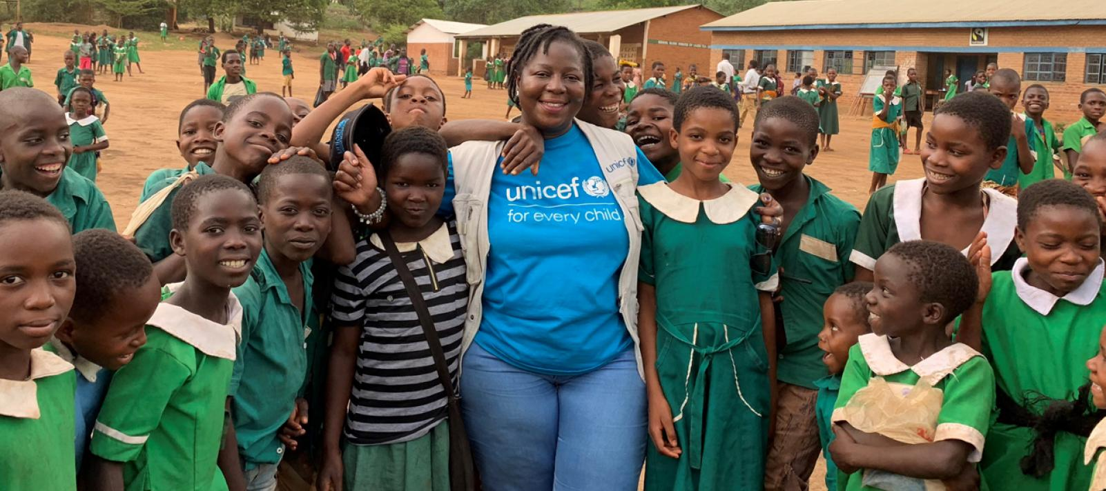 UNICEF Education Specialist with students at Ngangala Primary School in Mulanje