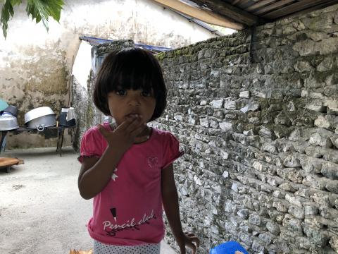 Little girl in a pink t-short next to a traditional limestone wall