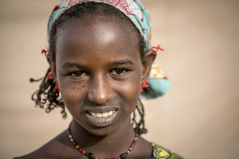 Portrait of Ada Diagayété, 12, a girl whose family was displaced due to increasing insecurity in central Mali. Official IDP camp of Socoura in the town of Sévaré, Mopti region, in central Mali, April 2019.
