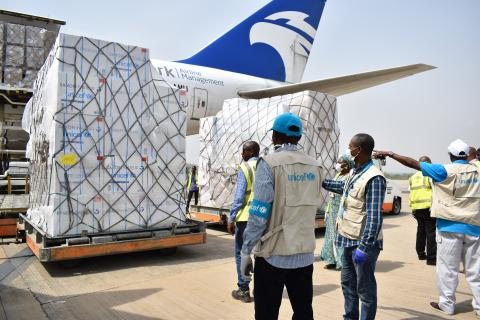On 16 April 2020 in Nigeria, UNICEF received a delivery of vital health supplies to support the fight against the COVID-19 pandemic via a flight funded by the Maersk Division APM Terminals. The supplies include 10,000 test kits, 15 oxygen concentrators, personal protective equipment (PPE), vaccines, emergency health kits and other vital health supplies, which will support the Government's COVID-19 Response Plan and UNICEF work in support of children and families in Nigeria. The supplies will also support th