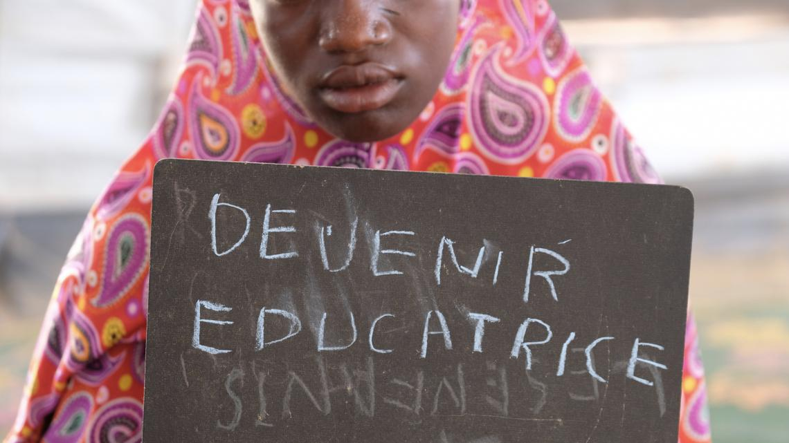 """I want to be a teacher,"" says Oumou. She's one of thousands of children who've been displaced by the recent violence in central Mali and who live in a camp for displaced people outside of the town of Mopti."