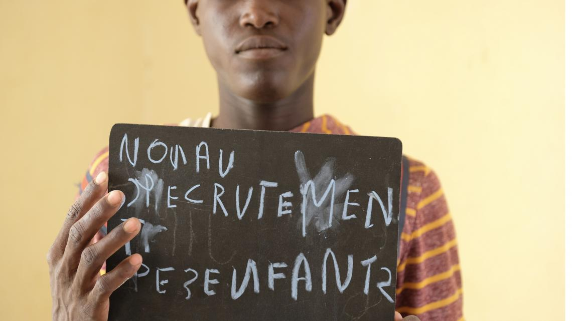 """No more recruiting children,"" says Abdoulaye, who experienced recruitment first hand in Mali's northern region of Gao."