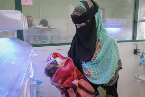 A mother and a child in hospital