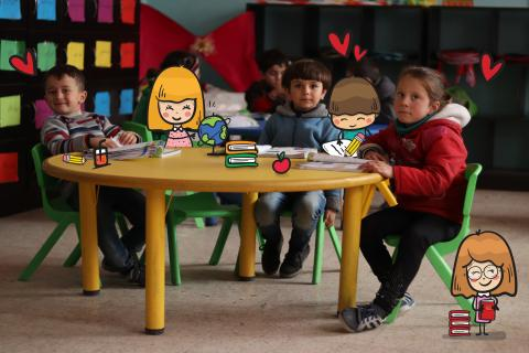 Kids in classroom. Photo has illustration elements added to it