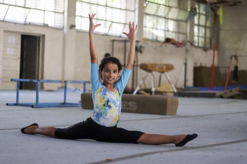 A girl doing gymnastics
