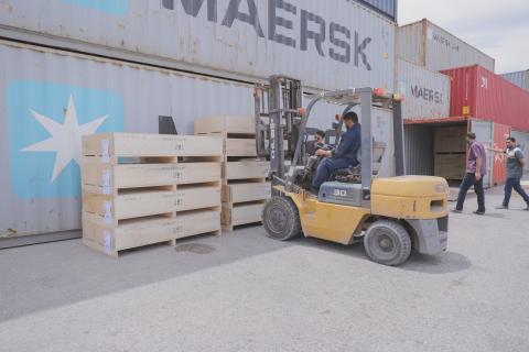 Warehouse truck moving supplies