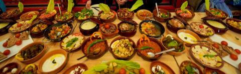 a table full with traditional food