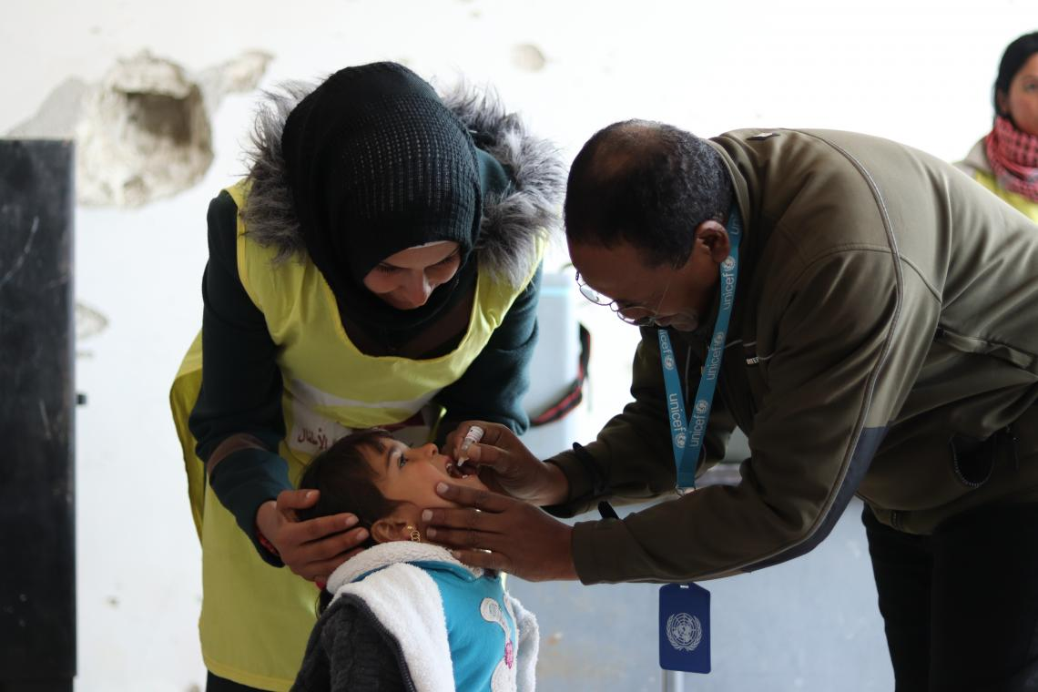 Child receiving a vaccine