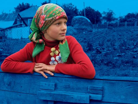 a girl in a green headscarf, Moldova