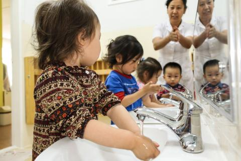 The new sinks at kindergarten No. 122 are more accessible for children.