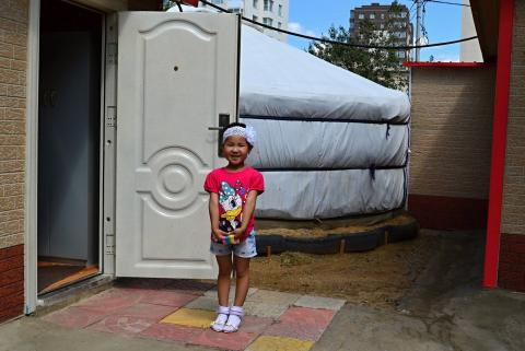 Minjinsor at the entrance of her ger kindergarten.