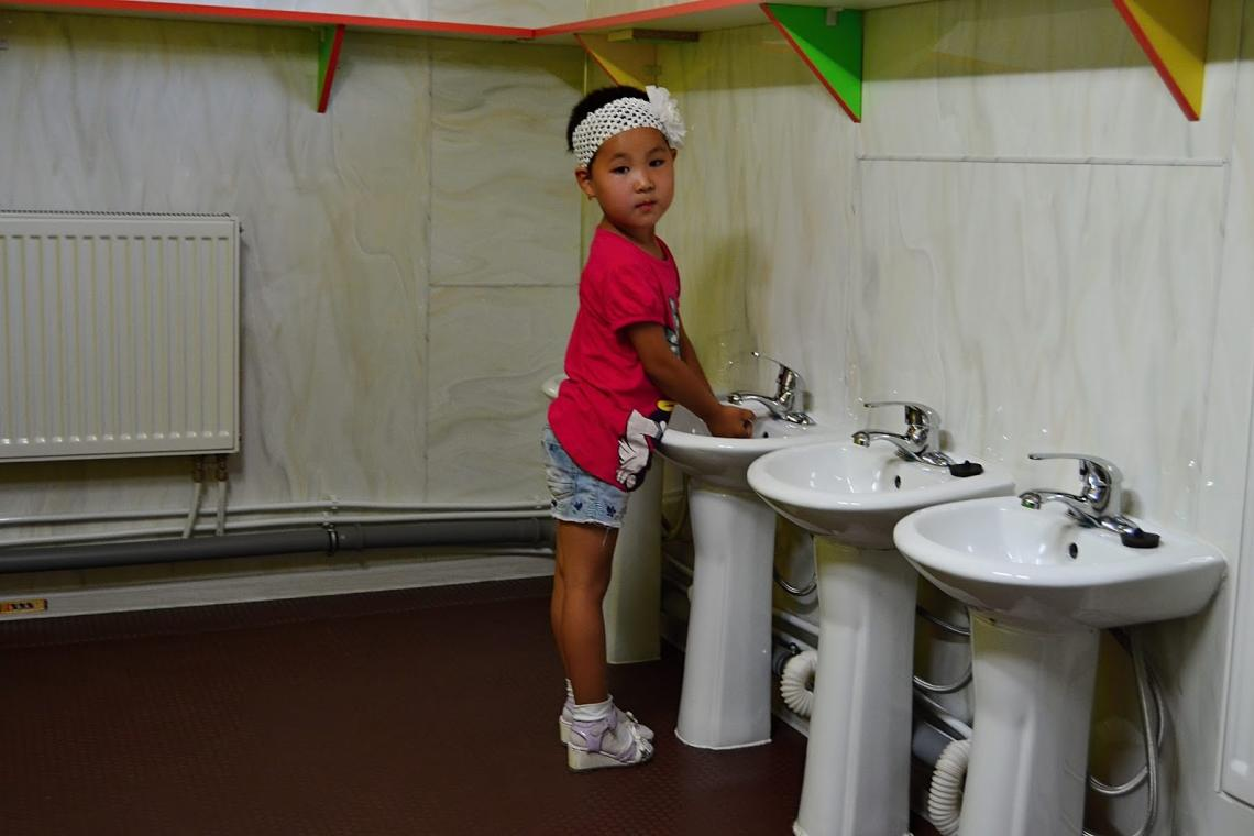 The bathroom facilities in the ger kindergarten are bigger and more modern than the ones in the main building.