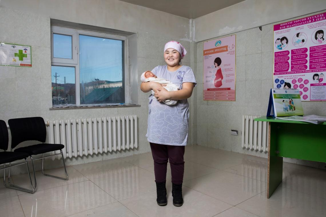 Mother Zolzaya and 2-day-old Ochir at a local hospital.