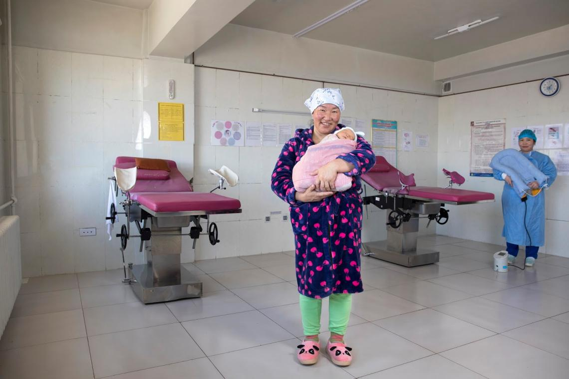 Mother Namjilmaa N. holding her son Sugar-Ochir at a local hospital in Khuvsgul province.