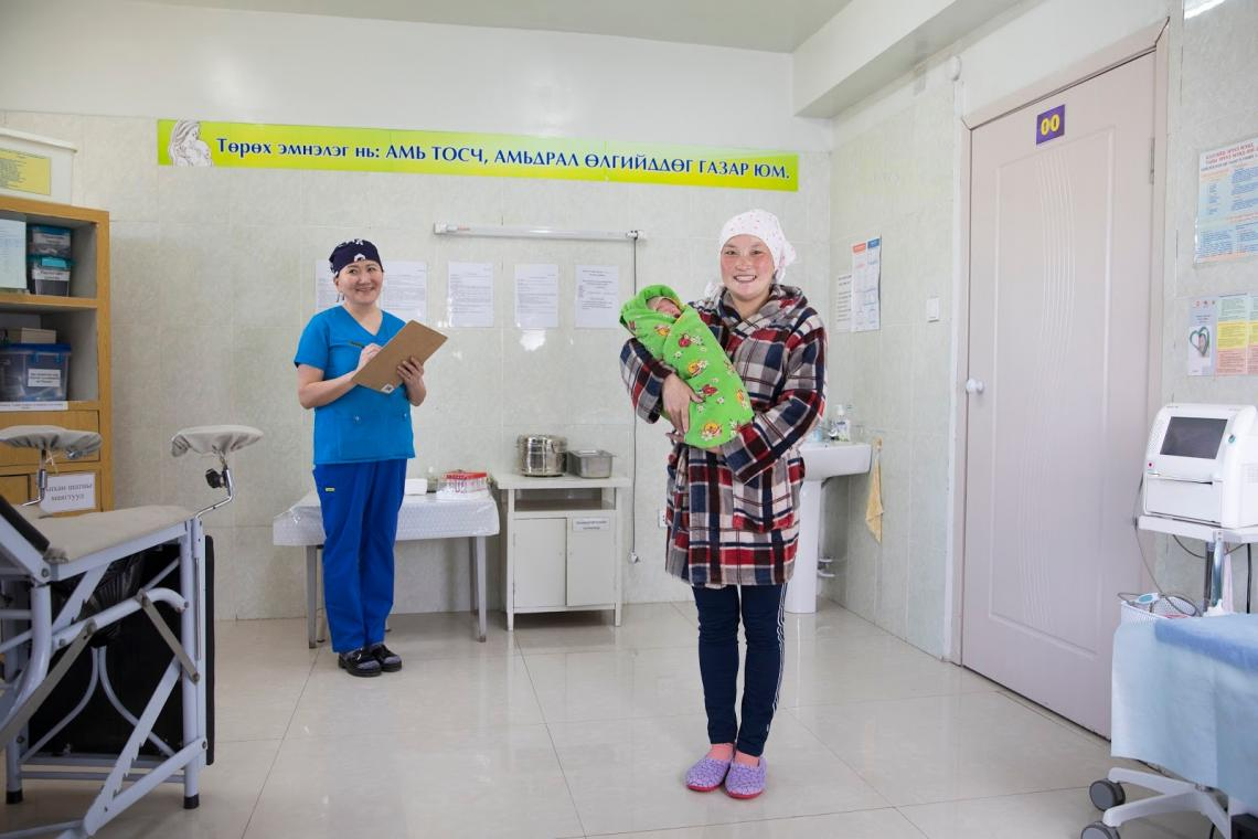 Mother, Dashnyam Ganbaatar, 23 and the baby at a local hospital.
