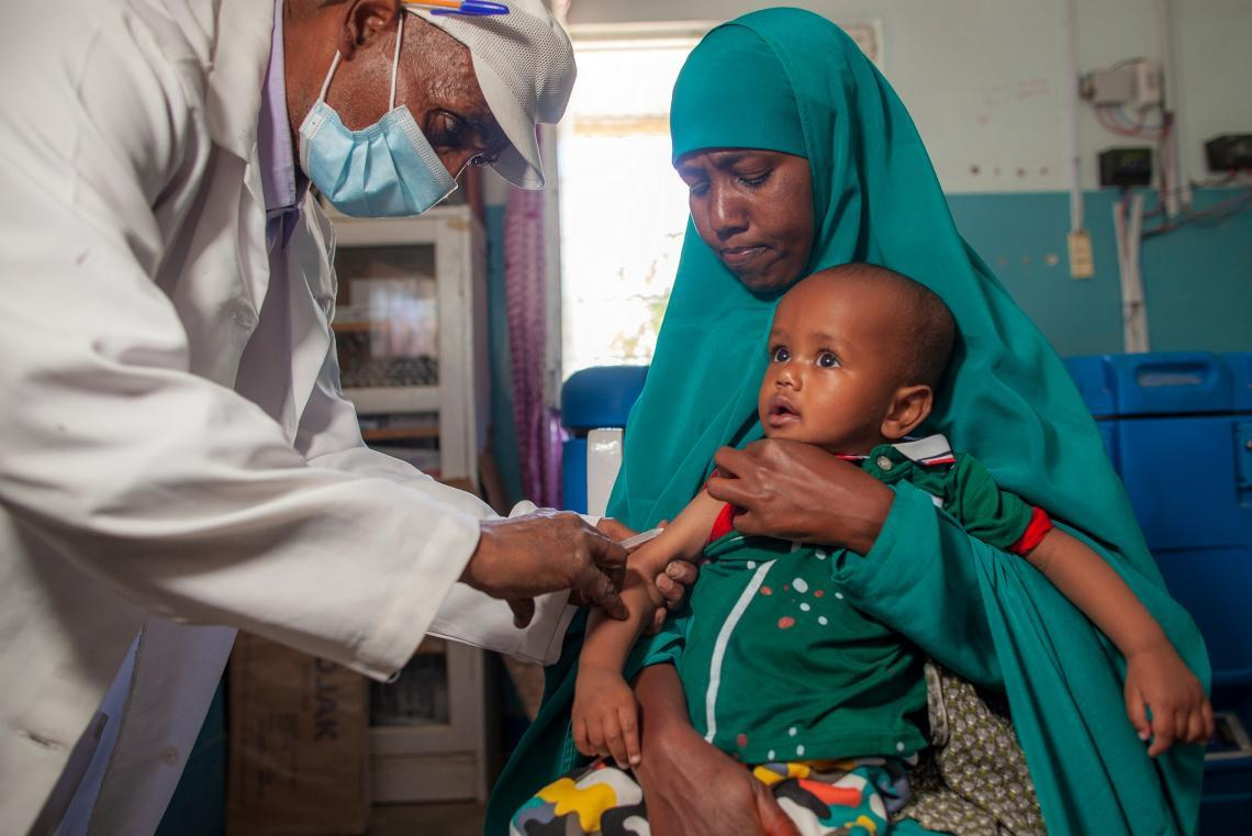 A child is vaccinated against measles at a nutrition centre in Hargeisa, Somaliland.