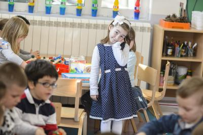 A girl in the kindergarten