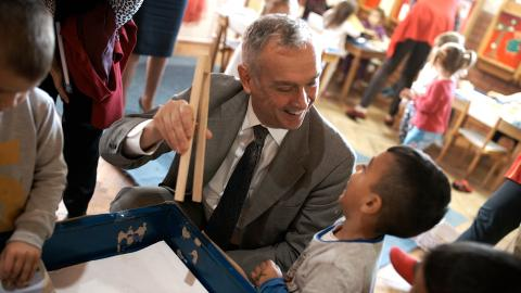 UNICEF's Deputy Regional Director for Europe and Central Asia, Philippe Cori visiting kindergarten in Nikšić