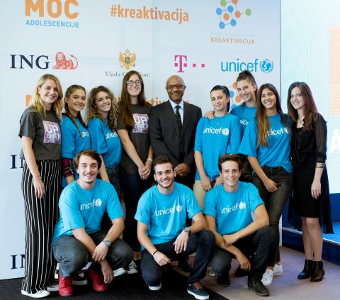 UNICEF Montenegro representative with adolescents