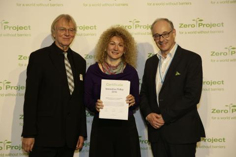 Communication officer of UNICEF MNE Jelena Perovic accepting the award in Vienna