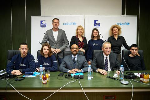 UNICEF representative to Montenegro with partners and young reporters
