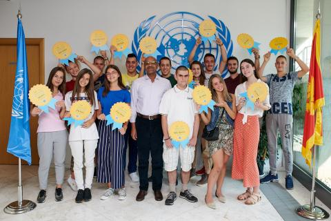 UNICEF Representative to Montenegro Osama Khogali and the first team of UNICEF volunteers - young reporters after the diploma award ceremony at the UN Building in Podgorica in September 2019.