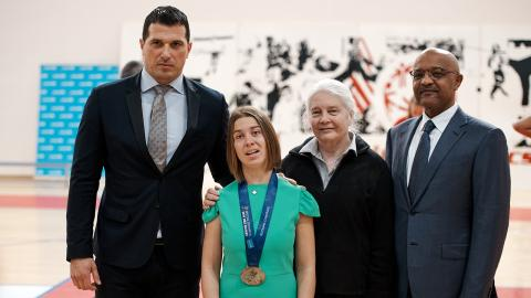 MMinister of Sport and Youth, Nikola Janović, Spokesperson for the UNICEF–Special Olympics Partnership, Lucy Meyer, Head of Operations of the Special Olympics for Europe and Euroasia, Martha Jo Braycich and UNICEF Montenegro Representative, Osama Khogali