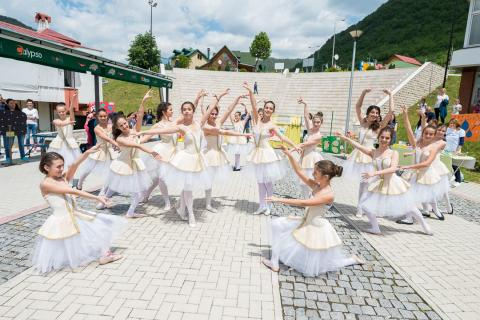 Vasa Pavic Ballet School students performing for children in the north of Montenegro within the Preschool for All campaign